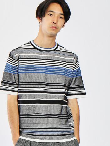 OUTLET (MEN'S) - ジャガードマルチボーダーTシャツ