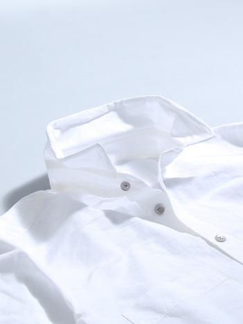 リネンコットンスタンドシャツ
