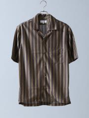 テンセルジャージーストライプオープンカラーシャツ