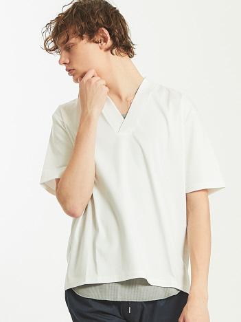 シルケットスムースVネックTシャツ