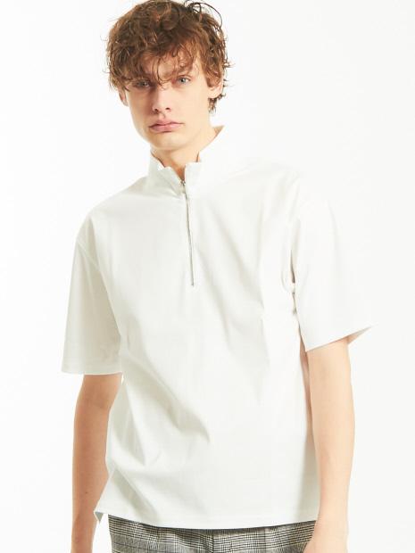 シルケットスムース ハーフジップ Tシャツ