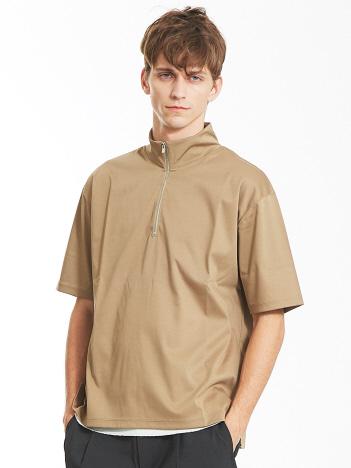 OUTLET (MEN'S) - シルケットスムース ハーフジップ Tシャツ