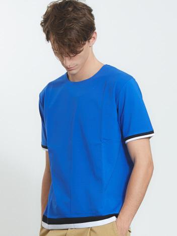 【ノンストレス】クルーネックトリムTシャツ
