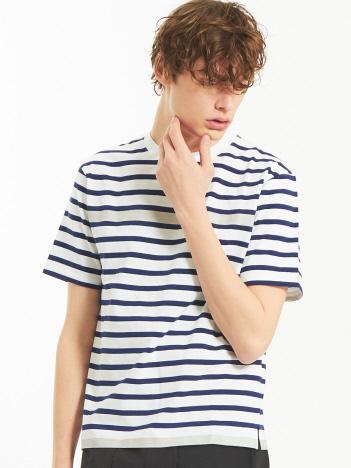 OUTLET (MEN'S) - 天竺ボーダースウェード圧着Tシャツ