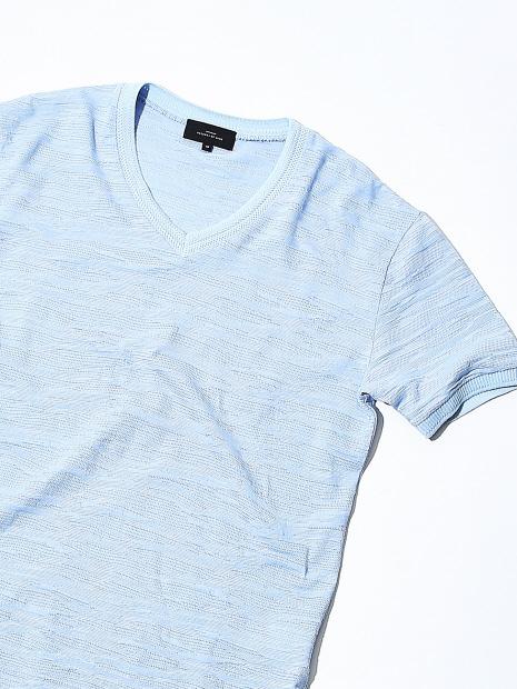 【Recency of Mine】ランダムカモジャカードボーダーVネックTシャツ