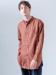 ABAHOUSE - コットンキュプラ バンドカラー ロングシャツ