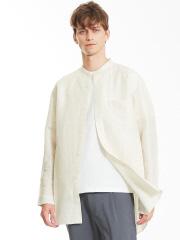 ABAHOUSE - リネンカールマイヤーバンドカラーロングシャツ