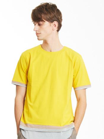 【ノンストレス】圧着クルーネックトリムTシャツ