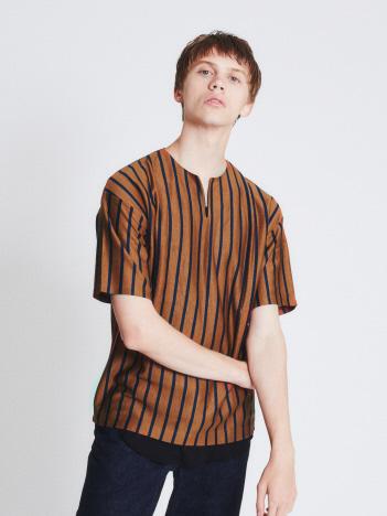 テンセルジャージーキーネック 半袖Tシャツ