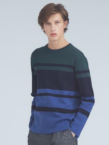 ミラノリブカラーブロッククルーネックTシャツ