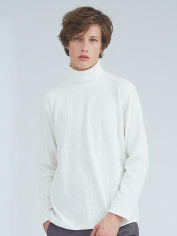 【Recency of Mine】ライトケーブルストレッチタートルネックニットTシャツ