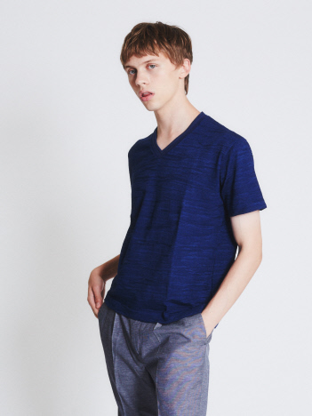 【Recency of Mine】ランダムカモフラジャカードVネック半袖Tシャツ