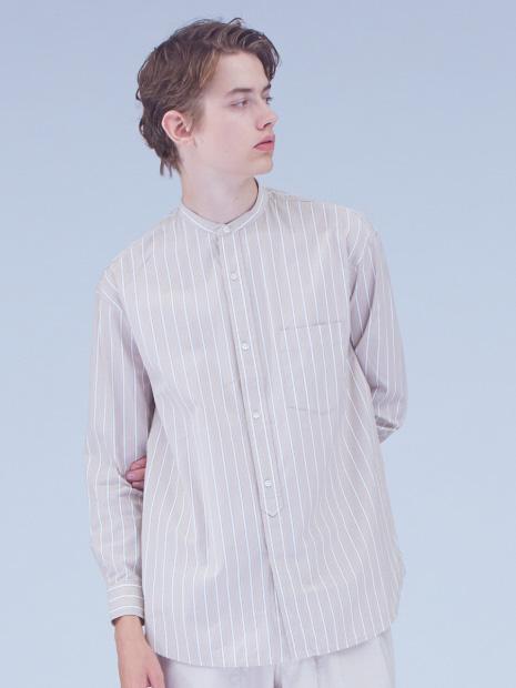 ストライプバンドカラーロングシャツ
