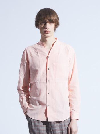 キュプラ×コットンポプリンVネックシャツ