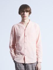 ABAHOUSE - キュプラ×コットンポプリンVネックシャツ