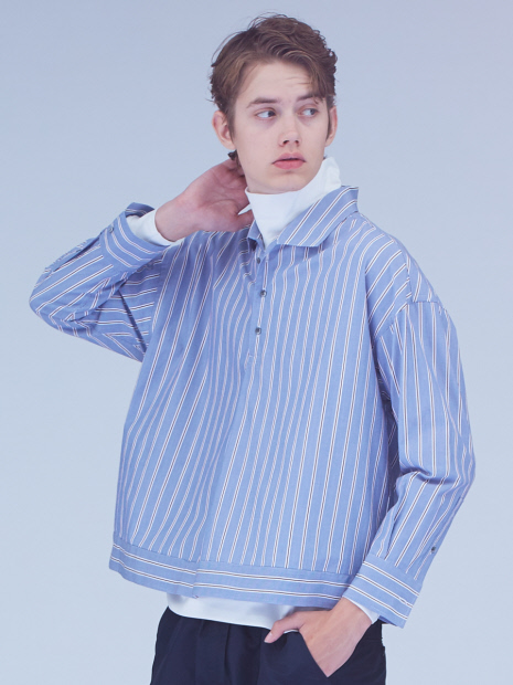 ストライプショートシャツ
