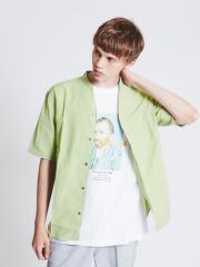 ABAHOUSE - キュプラ×コットンポプリンVネック半袖シャツ