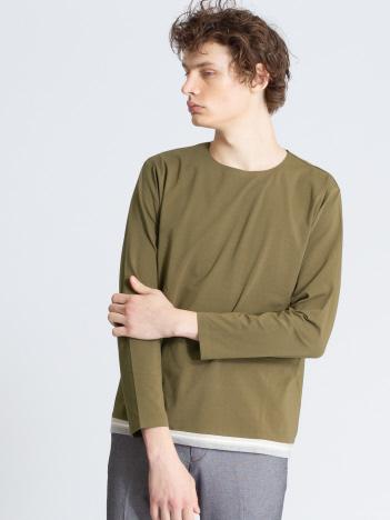 【ノンストレス】ベア天竺圧着ニットトリムTシャツ