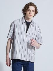 ABAHOUSE - タイプライターストライプハーフZIPシャツ