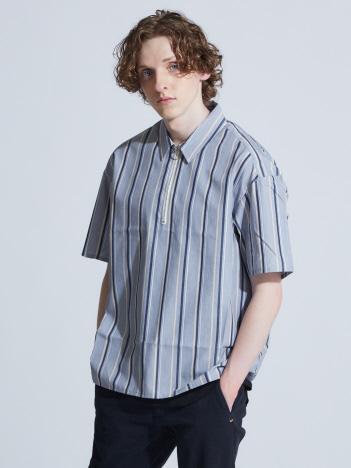 OUTLET (MEN'S) - タイプライターストライプハーフZIPシャツ