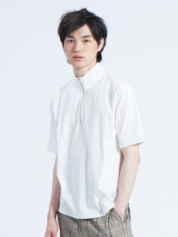 コンパクトスムースハーフジップTシャツ