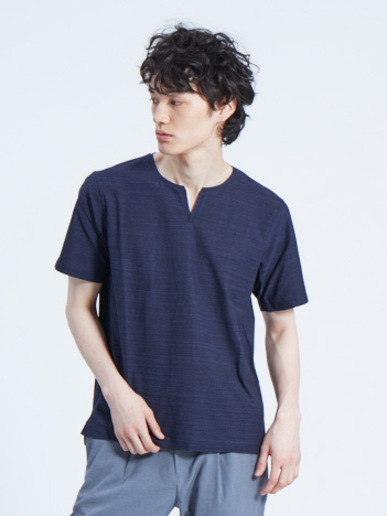 OUTLET (MEN'S) - 梨地メランジニット キーネックTシャツ