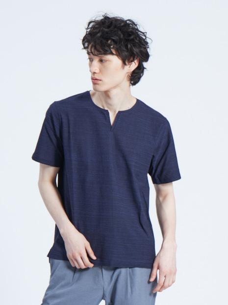 梨地メランジニット キーネックTシャツ