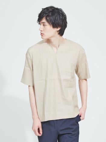 リネン ストレッチ ストライプ キーネック 半袖Tシャツ