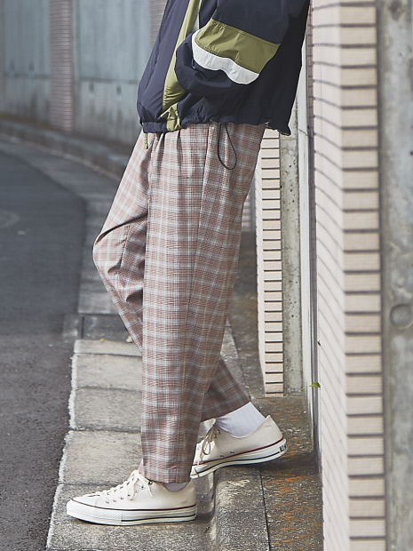 【セットアップ対応】チェック/ストライプ TWワイドテーパードパンツ
