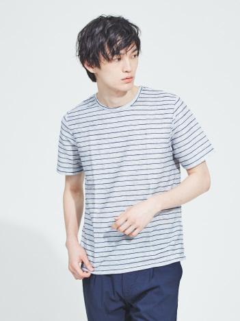 OUTLET (MEN'S) - 【WEB別注】麻混メランジリップルボーダー半袖Tシャツ