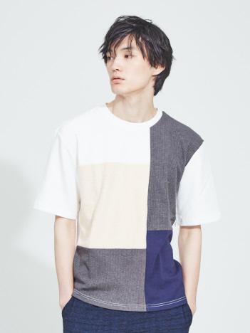 【WEB別注】異素材 切替え 半袖 Tシャツ