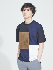 ABAHOUSE - 【WEB別注】異素材 切替え 半袖 Tシャツ