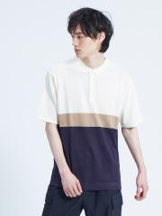 ABAHOUSE - 【WEB別注】配色 ニット ポロシャツ