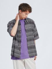 ABAHOUSE - 幾何学柄オープンカラー半袖シャツ