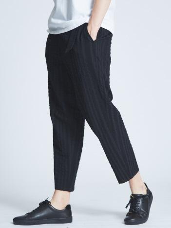 綿麻ストライプベルト付きバルーンパンツ