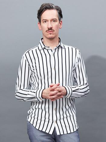 【Recency of Mine】カラミメッシュワイドピッチストライプシャツ