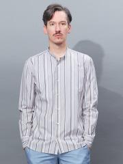 ABAHOUSE - 【Recency of Mine】タイプライターストライプバンドカラーシャツ【予約】