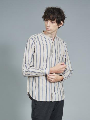 ストライプ バンドカラーシャツ