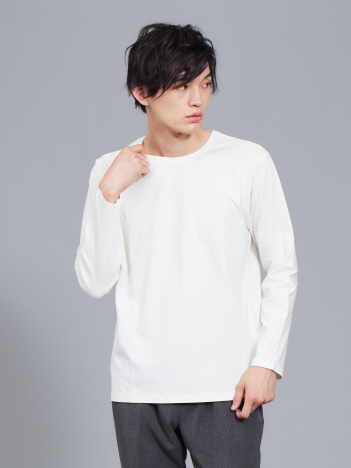 【ノンストレス】COTTON LYCRA圧着クルーロングTシャツ