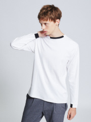 ABAHOUSE - シルケットスムース ネックポイントロングTシャツ【予約】