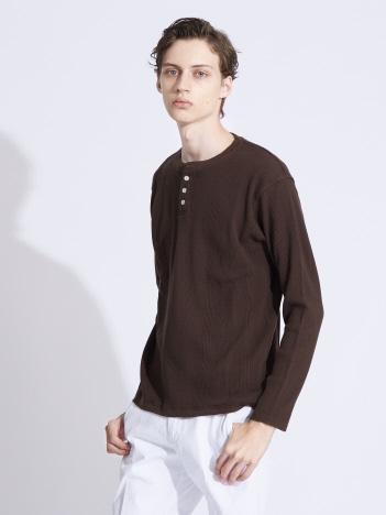 変形ワッフル ヘンリーネックロングTシャツ