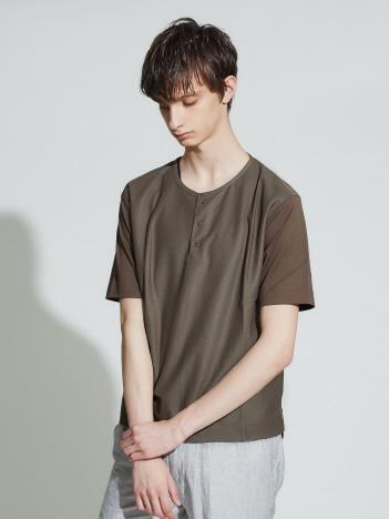 OUTLET (MEN'S) - 異素材切替カルぜヘンリーネック 半袖Tシャツ