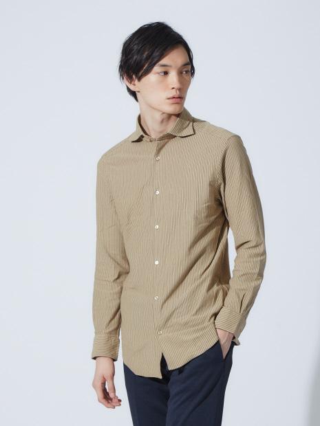 【Recency of Mine】ストレッチストライプシャツ