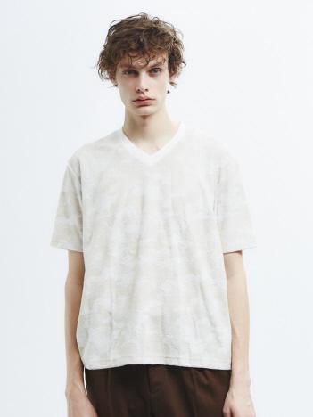 【Recency of Mine】3Dパイル カモフラージュVネック半袖Tシャツ