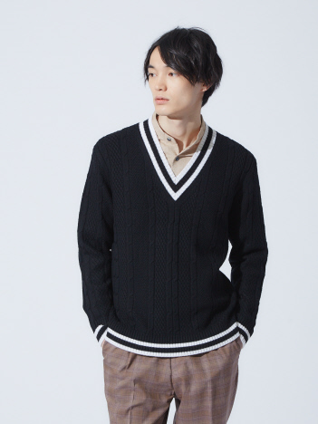 OUTLET (MEN'S) - 【Recency of Mine】 EXTRA FINE MERINO チルデンニット