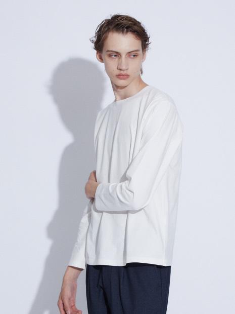 【ノンストレス】 圧着クルーロングTシャツ