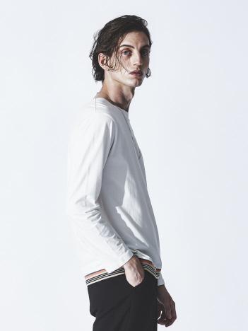 ABAHOUSE - 圧着クルー ライントリム ロングスリーブTシャツ