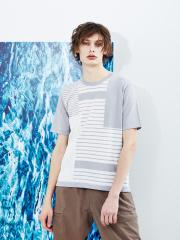 マルチボーダーパネル ニット半袖Tシャツ
