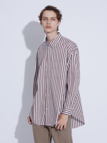 プルオーバー風 オーバーサイズ レギュラーカラー シャツ