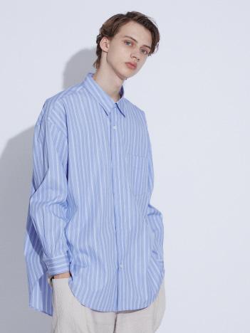 ABAHOUSE - プルオーバー風 オーバーサイズ レギュラーカラー シャツ